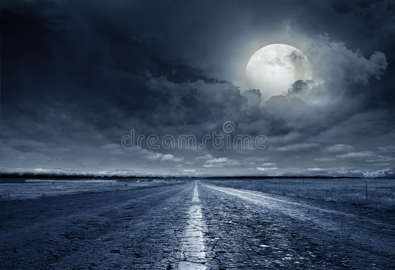 Asphalt road night stock image