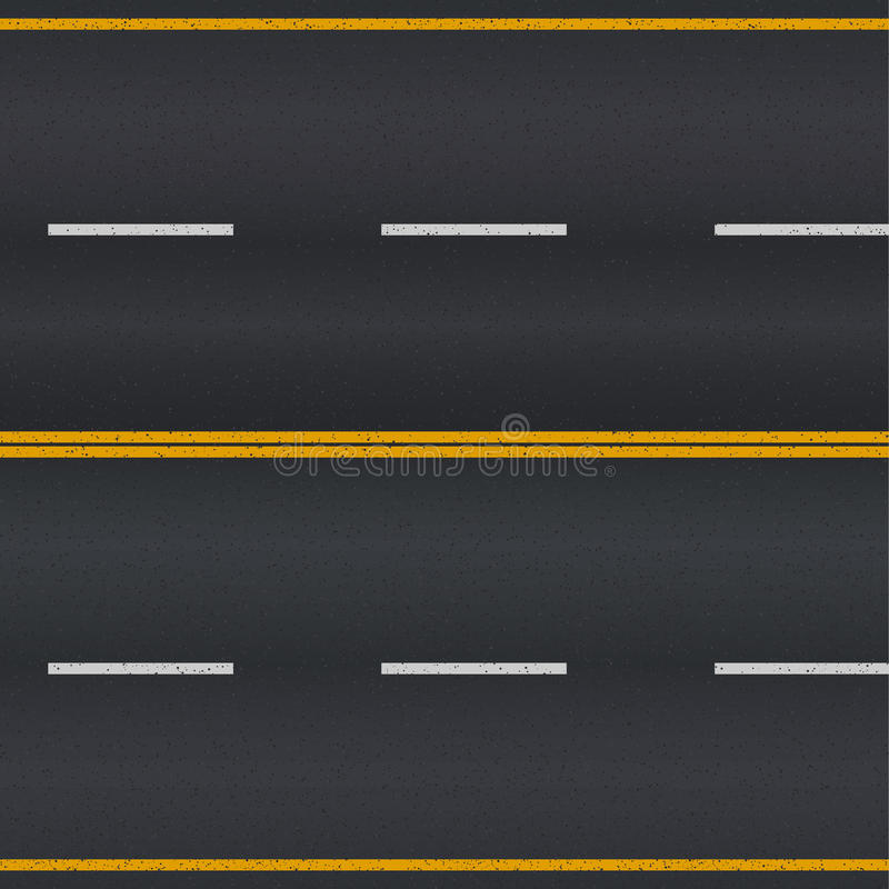 Asphalt road. Asphalt road texture with white and yellow stripes stock illustration