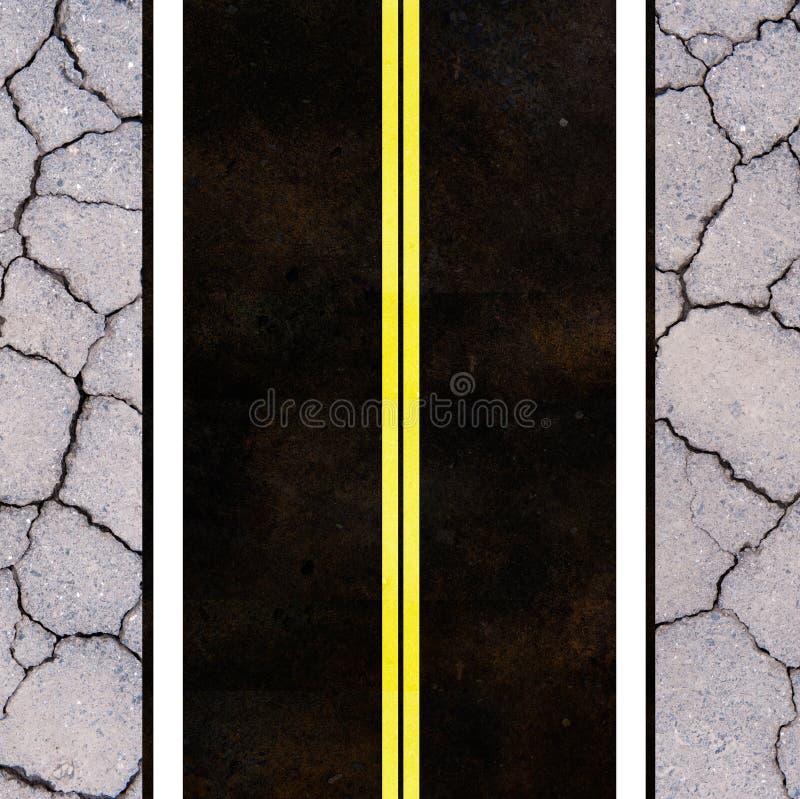 Asphalt Road Texture With Yellow Stripe Stock Photos