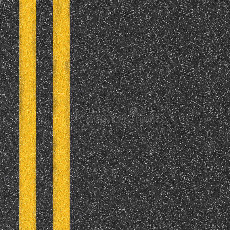 Asphalt road top view with yellow lines stock images