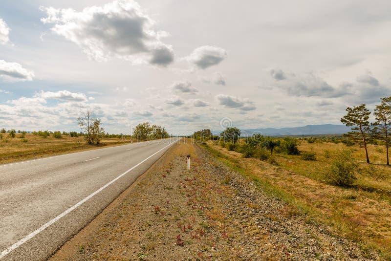 Asphalt road Ulan-Ude - Kyakhta royalty free stock image