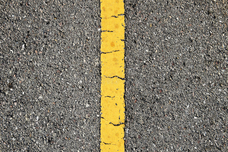 Asphalt Road With Yellow Strip fotografia stock