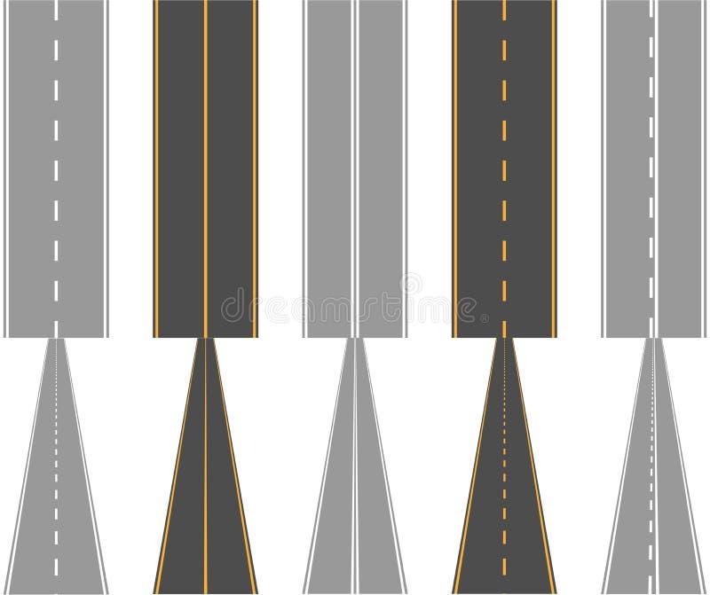 Asphalt roads, with traffic surface marking lines stock illustration