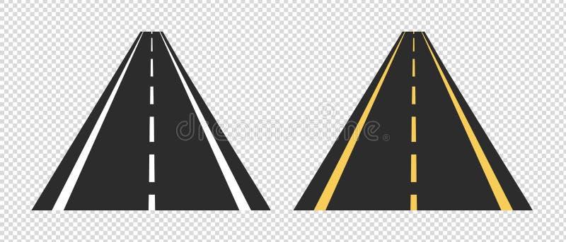 Asphalt Roads - VectordieIllustraties - op Transparante Achtergrond worden geïsoleerd vector illustratie