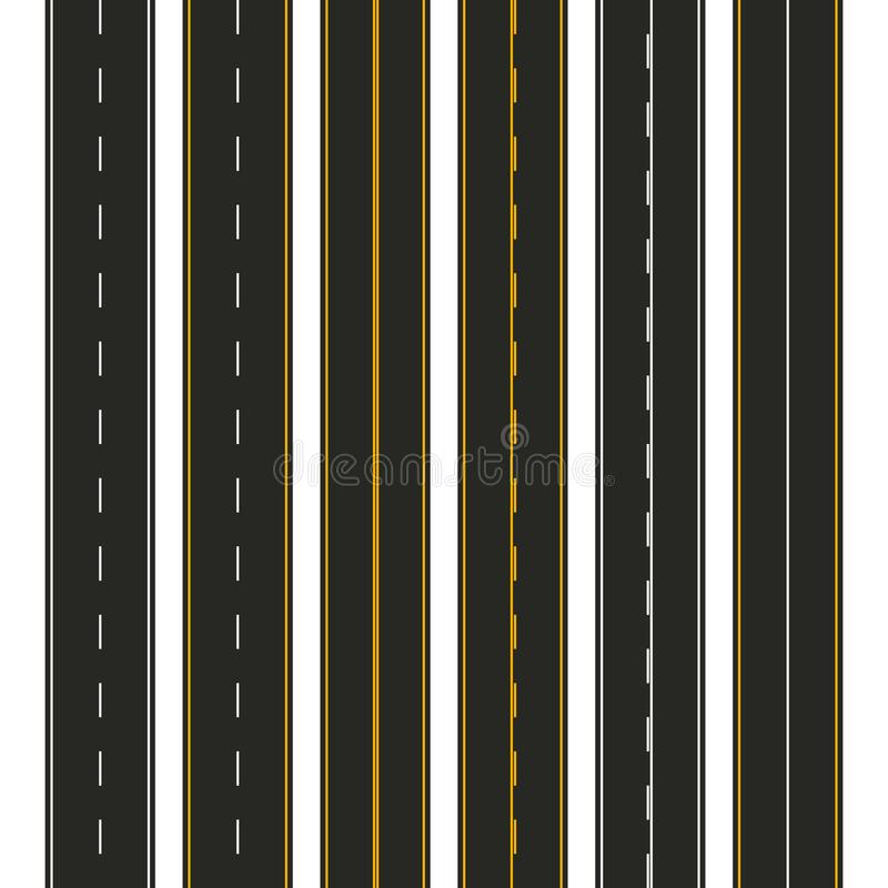 Asphalt. Set of road types with markings. Highway strip template design for infographic. Vector illustration.  vector illustration