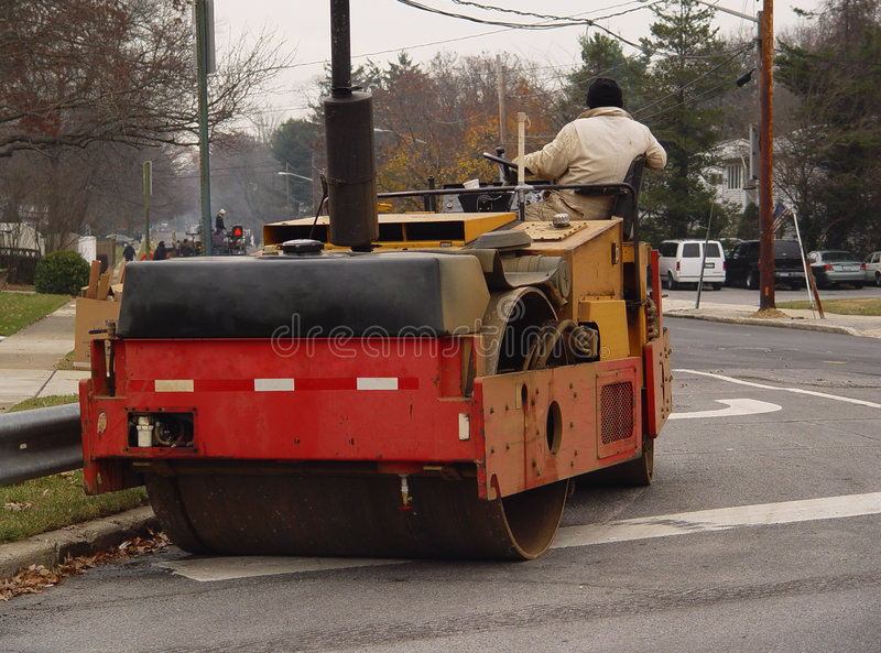 Asphalt-Straßenbetoniermaschine stockfotografie