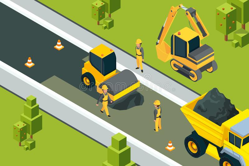 Asphalt street roller. Urban paved road laying safety ground workers builders yellow machines isometric vector landscape stock illustration