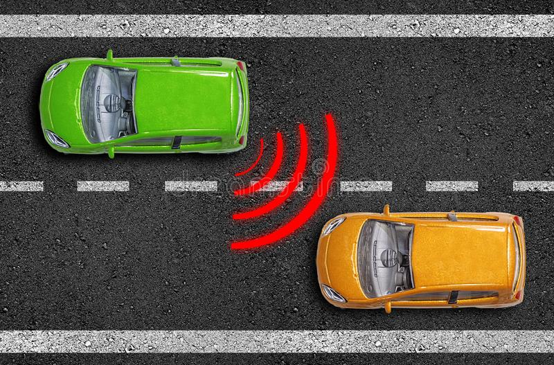 Asphalt with cars on a road with distance sensor and emergence break assistant stock photos