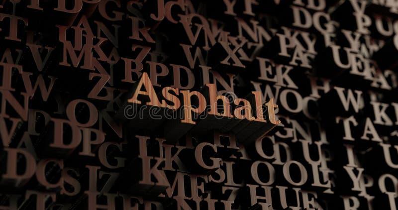 Asphalte - 3D en bois a rendu des lettres/message illustration de vecteur