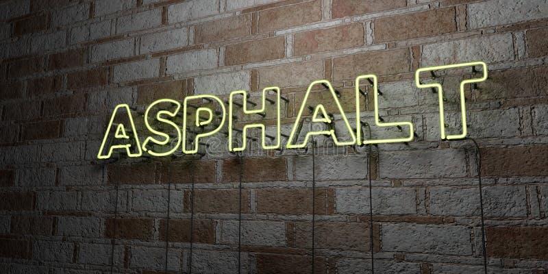 ASPHALTE - Enseigne au néon rougeoyant sur le mur de maçonnerie - 3D a rendu l'illustration courante gratuite de redevance illustration libre de droits