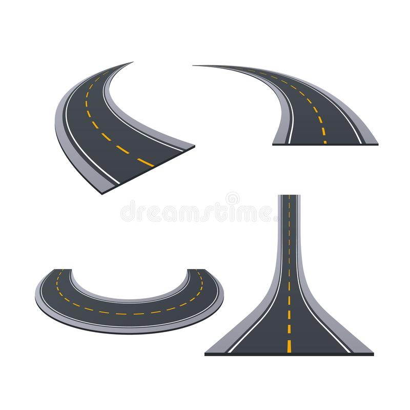 Asphalted roads, track, highways, car roads with bends, ascents, turns. Various types of asphalted roads, track, highways, car roads with bends, ascents, turns royalty free illustration