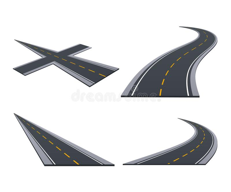 Asphalted roads, track, highways, car roads with bends, ascents, turns. Various types of asphalted roads, track, highways, car roads with bends, ascents, turns vector illustration