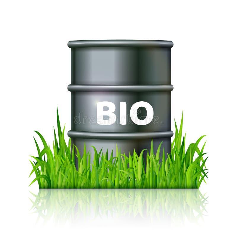 Asphaltieren Sie Fass mit Biotreibstoff auf dem Vektor des grünen Grases vektor abbildung
