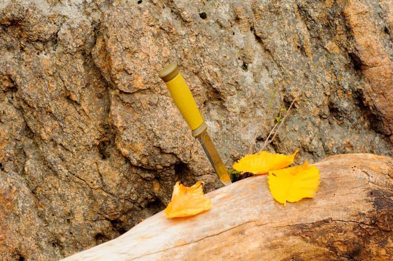 Asphaltieren Sie Jagdmesser auf einem Klotz und gelben Herbstlaub nahe einem Granitstein lizenzfreies stockbild