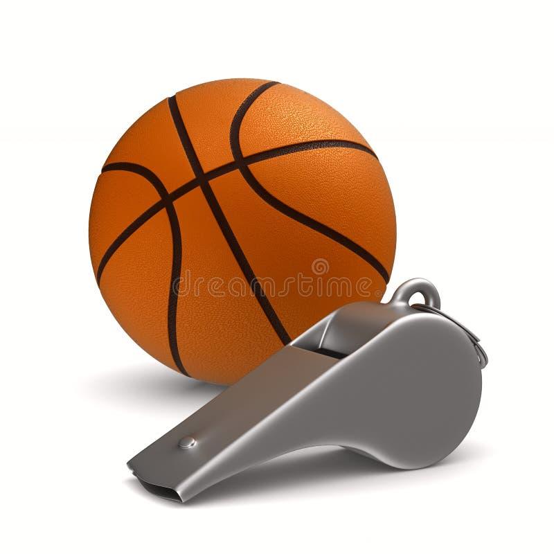 Asphaltieren Sie Pfeifen- und Basketballball auf weißem Hintergrund Getrennt vektor abbildung