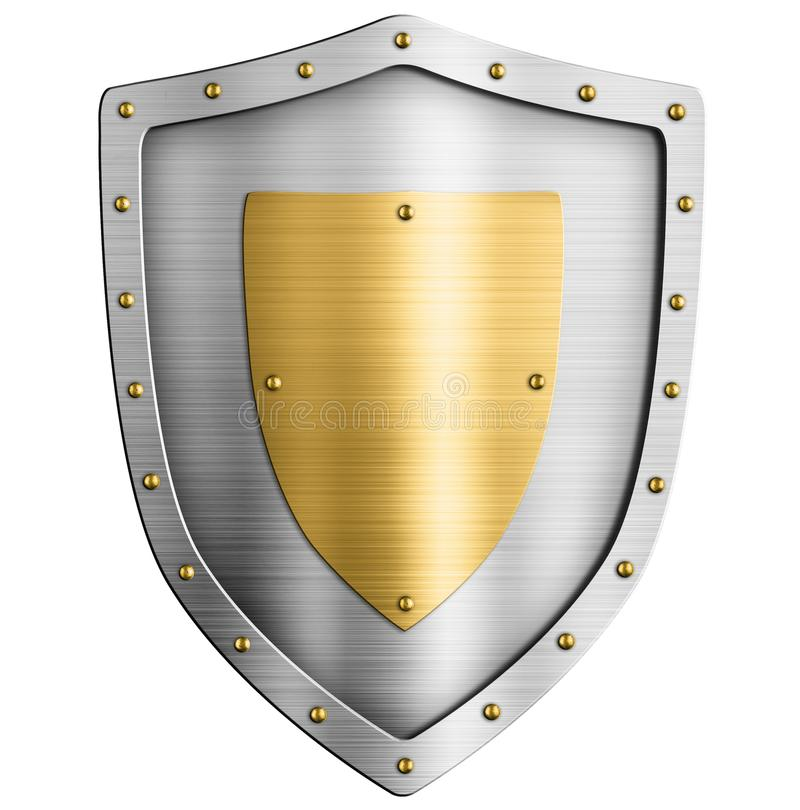 Asphaltieren Sie silbernes klassisches Schild mit Goldwappen 3d Illustration lizenzfreie abbildung