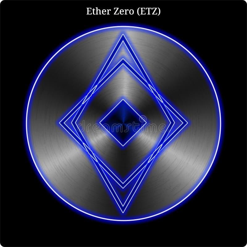 Asphaltieren Sie witn Münze des Äthers null (ETZ) blaues Neonglühen stock abbildung