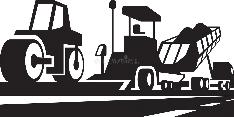 Asphalting of roads, streets and highways. Vector illustration vector illustration