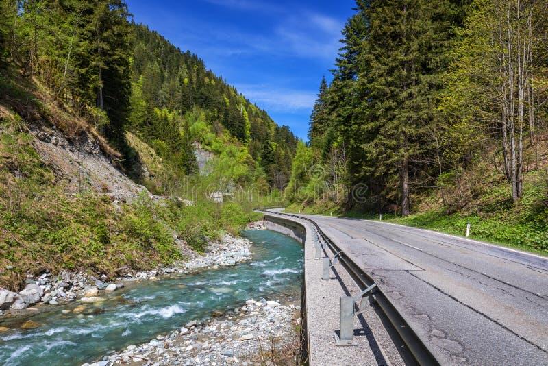 Asphaltstraße in Österreich durch den Wald, Tal in Österreich an einem schönen Sommertag Alpengebirgsruhige Sommeransicht ( stockbild