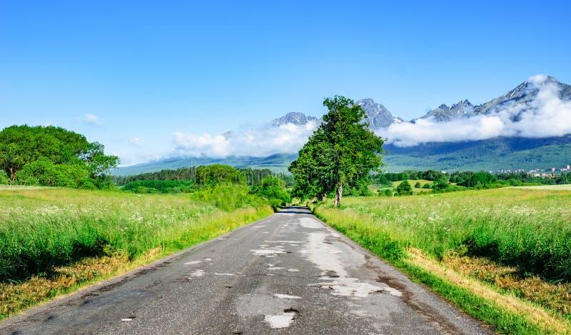 Asphaltstraße unter den Feldern gegen den Hintergrund von einer Berglandschaft stockfotos
