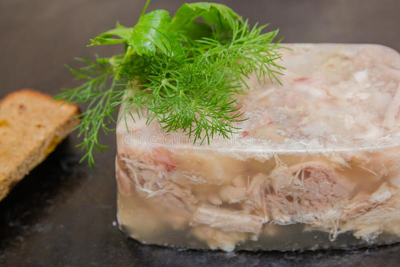 Aspic meat stock image