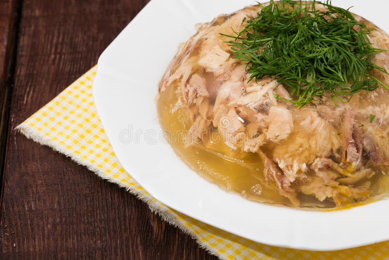 Aspic van kippenvlees, rundvlees en varkensvlees stock foto