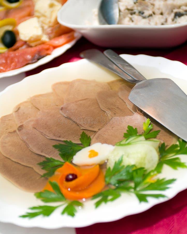 Aspic van vlees stock afbeeldingen