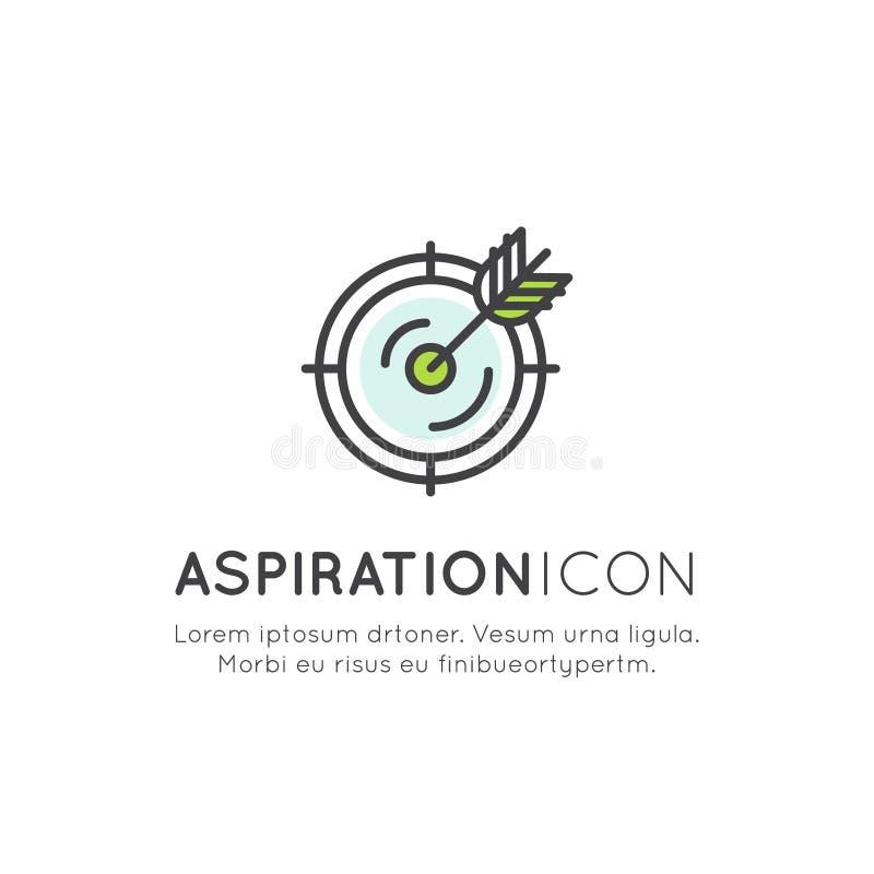 Aspiración, blanco, meta del negocio y del autodesarrollo, objetivo y logro libre illustration