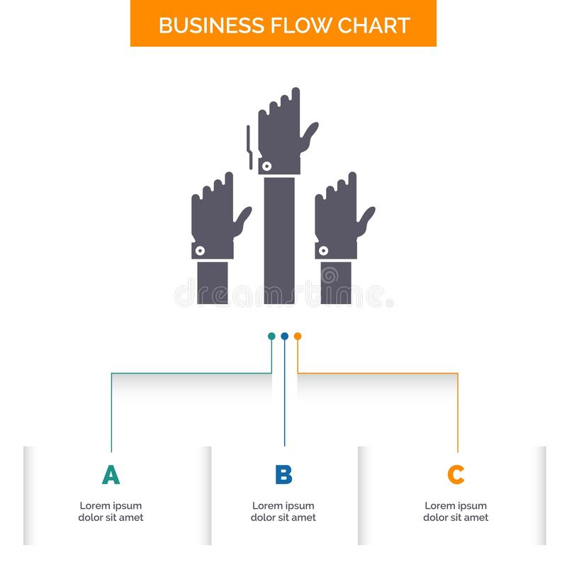 Aspiración, negocio, deseo, empleado, diseño atento del organigrama del negocio con 3 pasos Icono del Glyph para el fondo de la p ilustración del vector