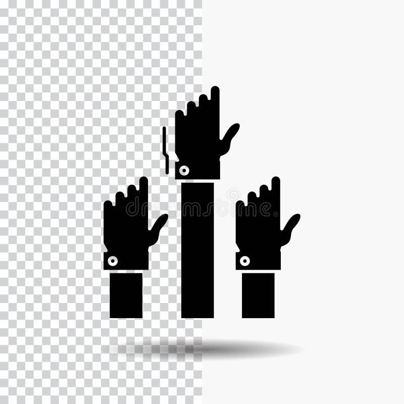 Aspiración, negocio, deseo, empleado, icono atento del Glyph en fondo transparente Icono negro stock de ilustración