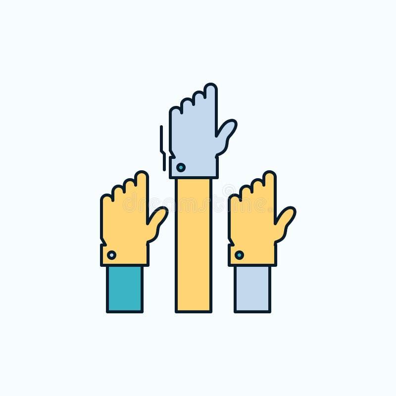 Aspiración, negocio, deseo, empleado, icono plano atento muestra y s?mbolos verdes y amarillos para la p?gina web y el appliation stock de ilustración