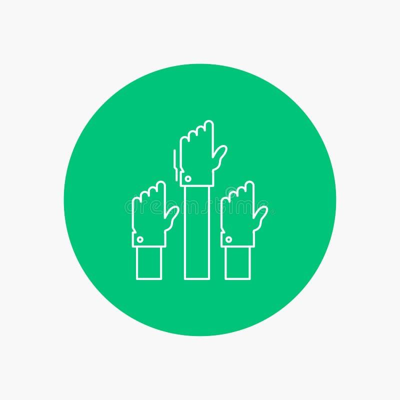 Aspiración, negocio, deseo, empleado, línea blanca atenta icono en fondo del círculo Ejemplo del icono del vector libre illustration