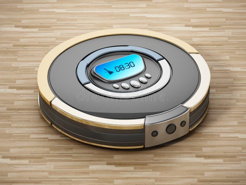 Aspirador automatizado en piso de madera ilustración 3D stock de ilustración