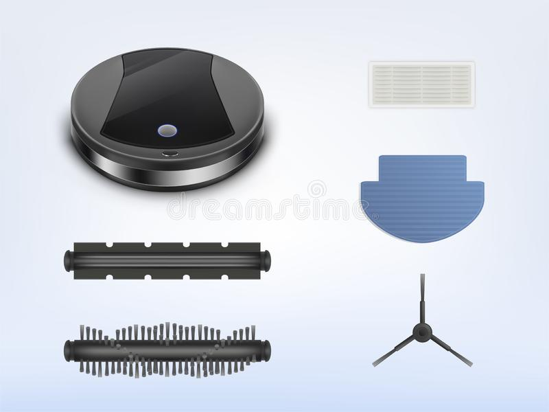 Aspirador de p30 robótico do vetor com peças sobresselentes ilustração stock