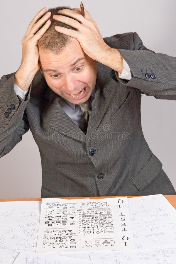 Aspirant with IQ test. Stress aspirant with IQ test stock photos