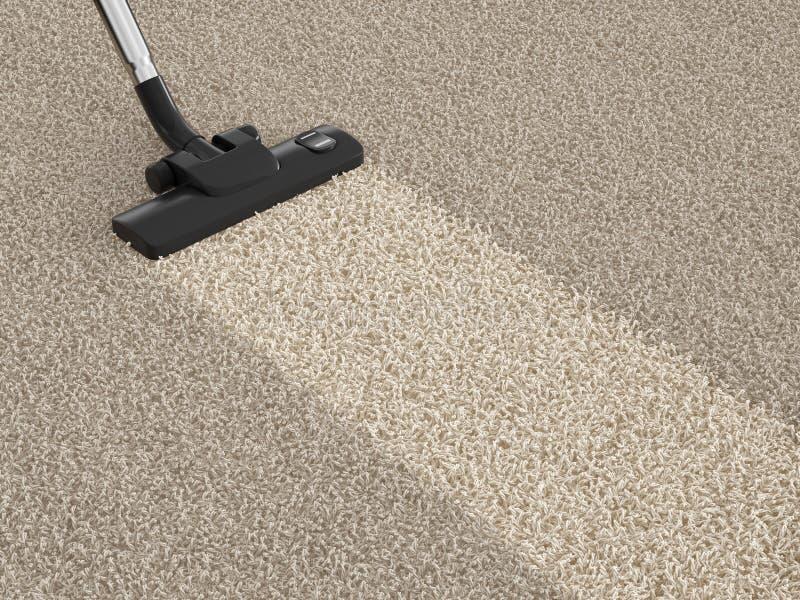 Aspirapolvere dell'aspirapolvere su tappeto sporco Concetto di pulizia della Camera illustrazione di stock