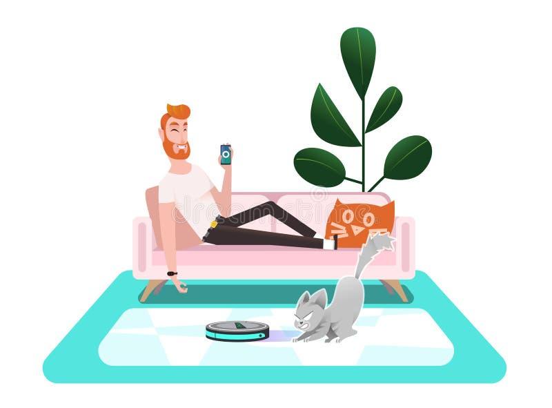 Aspirateur futé Le chat joue avec un aspirateur illustration stock