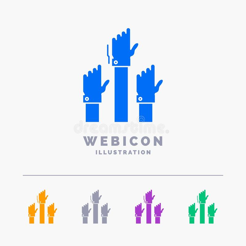 Aspiration, affaires, désir, employé, calibre d'icône de Web de Glyph de couleur de l'intention 5 d'isolement sur le blanc Illust illustration libre de droits