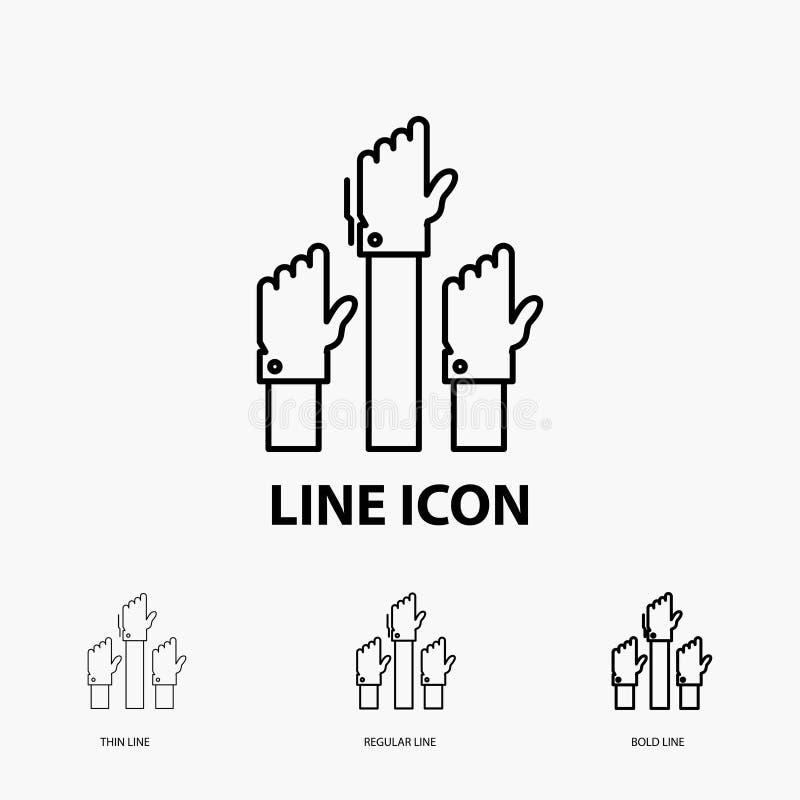 Aspiration, affaires, désir, employé, icône attentive dans la ligne style mince, régulière et audacieuse Illustration de vecteur illustration stock