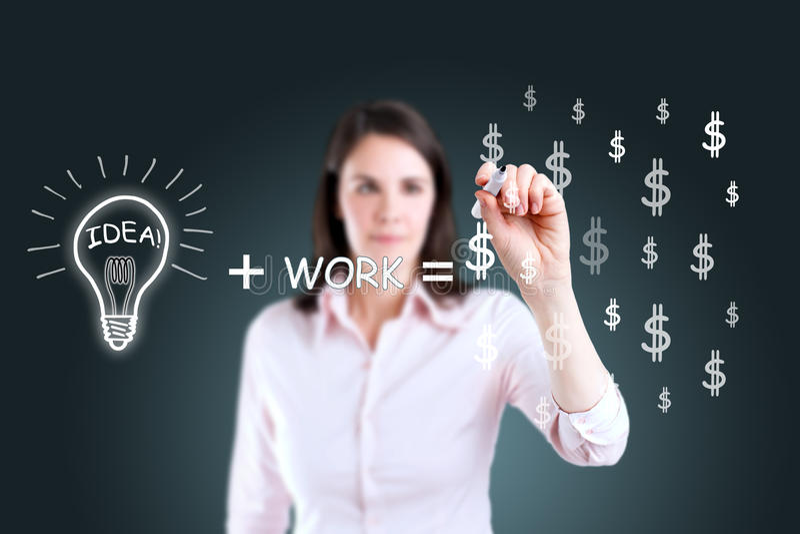 Aspiration d'équation par la femme d'affaires. photos libres de droits