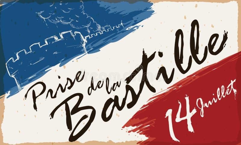 Aspiration de fulminer des traçages de couleurs de bastille et de Français, illustration de vecteur illustration stock