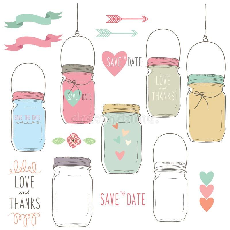 Aspiration de main épousant Mason Jar illustration de vecteur