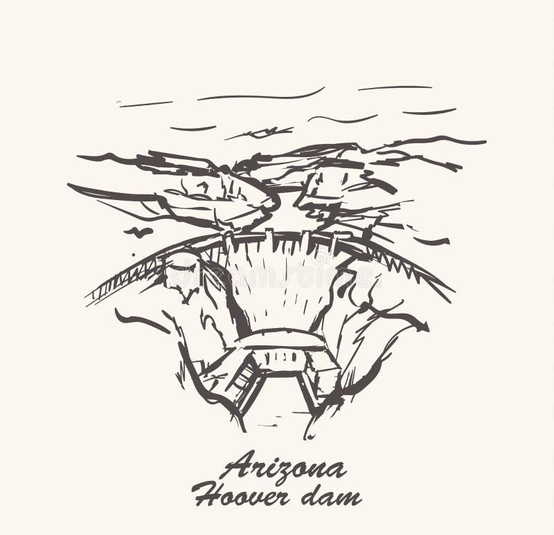 Aspiration de main de barrage de Hoover, illustration de vecteur de croquis de l'Arizona illustration libre de droits