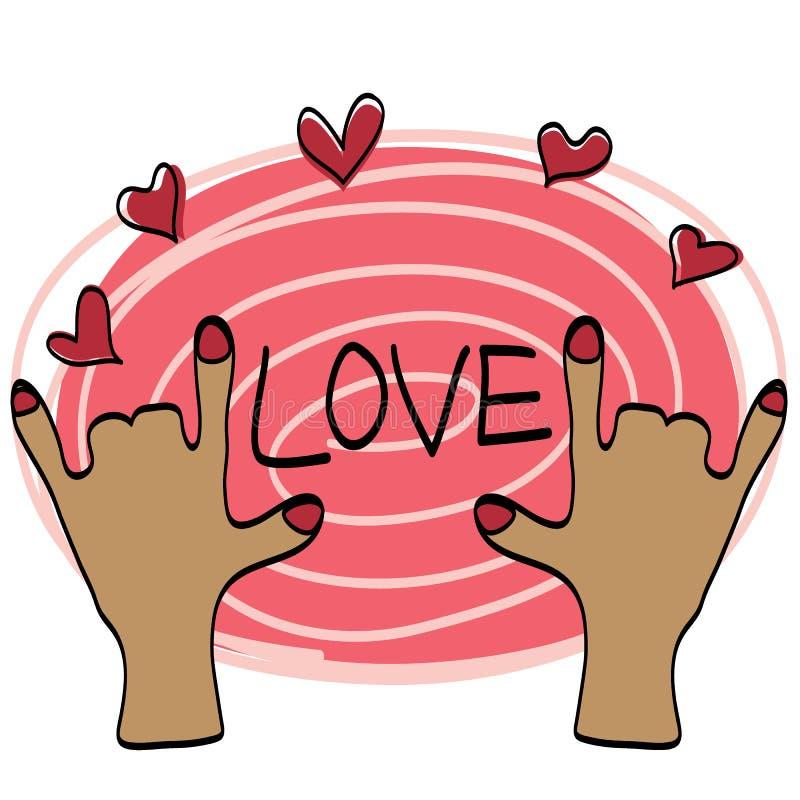 Aspiration de main d'amour avec le bonbon à couleur image libre de droits