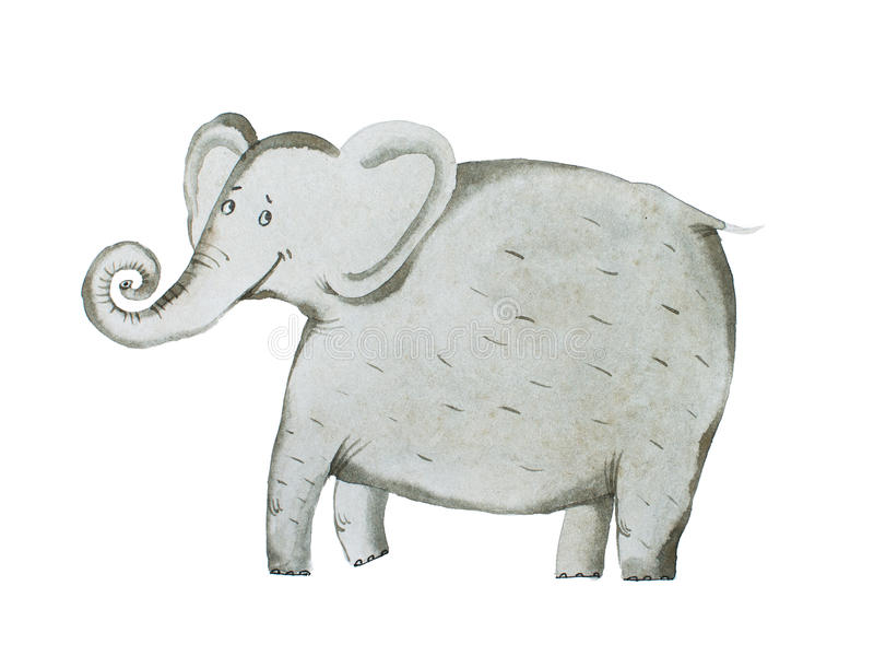 Aspiration de main d'aquarelle d'illustration d'aquarelle d'éléphant illustration libre de droits