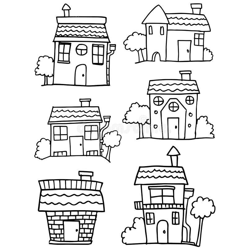 Aspiration de main de collection de maison illustration stock