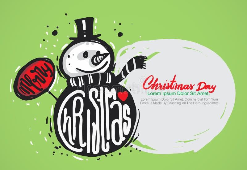 Aspiration de main de Joyeux Noël illustration stock