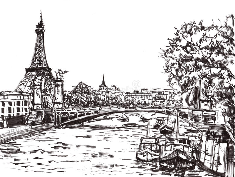Aspiration de main de rivière de Paris illustration stock