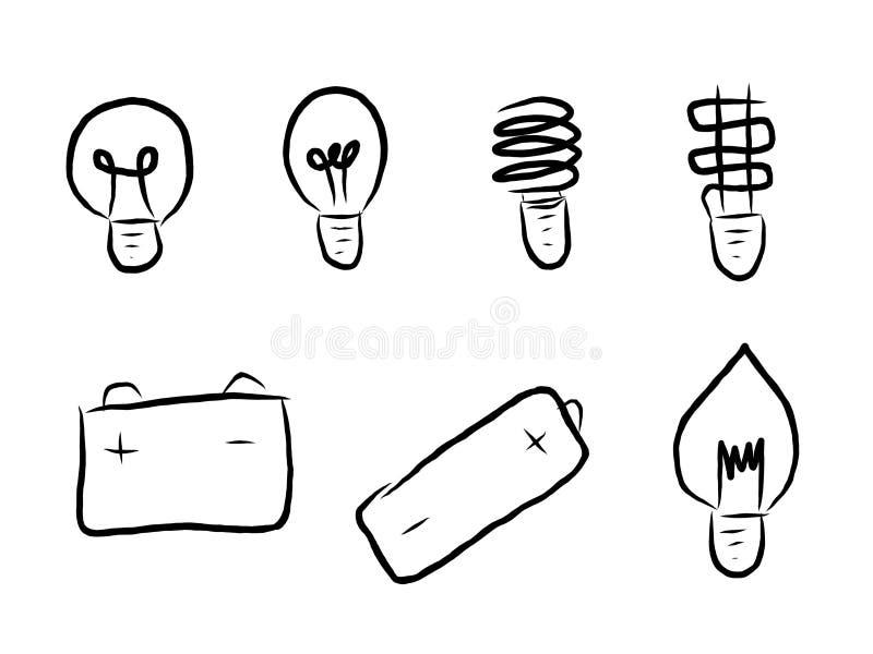 Aspiration de main de ligne ensemble d'ampoule d'icône illustration libre de droits