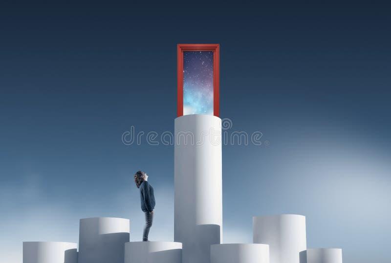Aspiration door. Overcoming concept royalty free stock photo